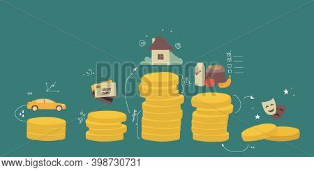 Budget Family Distribution. A Diagram Of The Distribution Of Money Coins To Columns, Visualization O