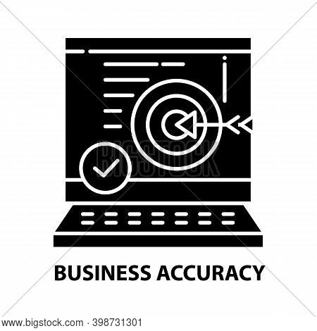 Business Accuracy Icon, Black Vector Sign With Editable Strokes, Concept Illustration