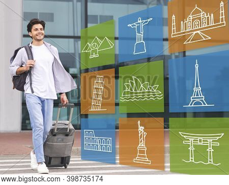 Happy Traveler Guy Walking With Travel Suitcase Arriving At Airport Outdoor. Collage With Colorful F