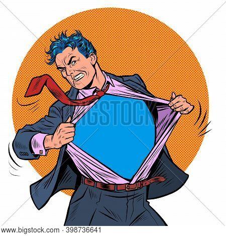 Superhero Businessman Tearing The Suit. Pop Art Retro Illustration Kitsch Vintage 50s 60s Style