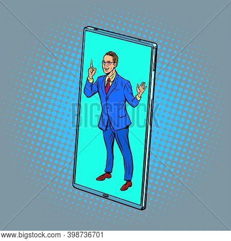 Businessman Speaker Lecturer At A Conference Call Via Mobile Phone Screen. Online Education. Pop Art