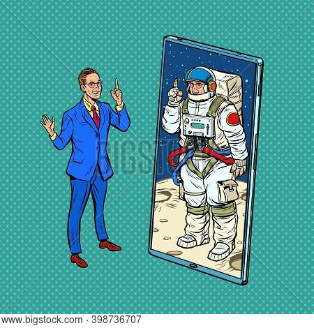 Cosmonaut Speaker Lecturer On A Conference Call Via A Mobile Phone Screen. Online Education. Pop Art