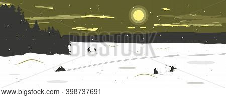 Panorama Of The Winter Landscape With A View Of The Frozen Snow-covered Lake. Fishermen Catch Fish,