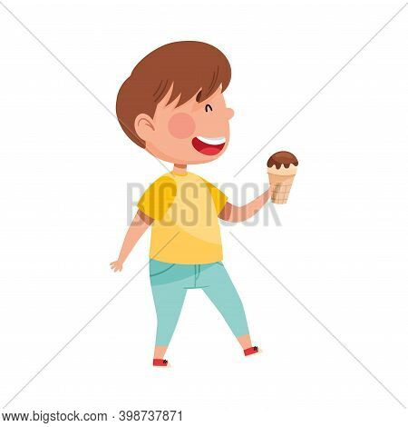 Excited Boy Character Holding Ice Cream In Wafer Cup Vector Illustration
