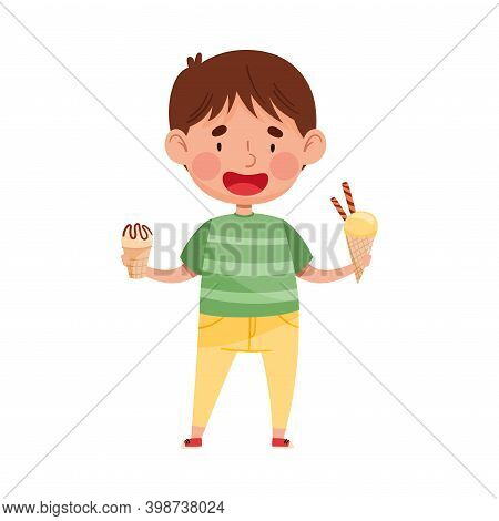 Excited Boy Character Holding Ice Cream In Wafer Cup And Waffle Cone Vector Illustration