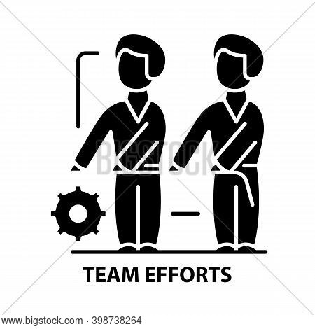 Team Efforts Icon, Black Vector Sign With Editable Strokes, Concept Illustration