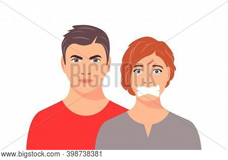 The Concept Of Abuse Or Sexual Assault. Woman In Tears Who Is Forbidden To Speak. Social Problems, A