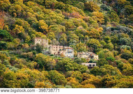 The Small Hamlet Of Quarci On A Rocky Hillside Near Ville Di Paraso In The Balagne Region Of Corsica