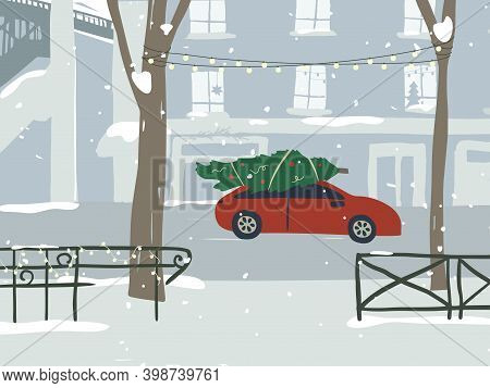 Winter City Landscape. Red Car Carries Christmas Tree Down Street Road. Snowy Cityscape, Buildings A