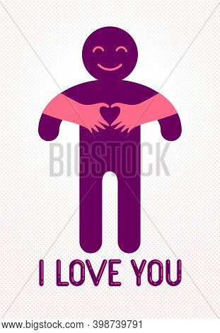 Love Arms Hugging Lover And Shows Heart Shape Gesture Hands, Lover Woman Hugging His Man And Shares