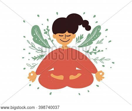 Cartoon Female Character Meditating Sitting In Lotus Pose. Smiling Inspired Girl With Crossed Legs F