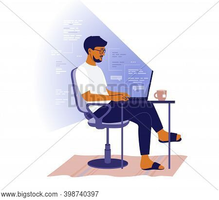 Backend Or Frontend Developer Coding And Chatting By Laptop. Man Sitting At Table And Working Online