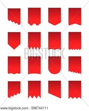 Pennant Flag Set Vvennon Template For Advertisement. Discount Flyer, Stickers, Canvas. Heraldic Penn
