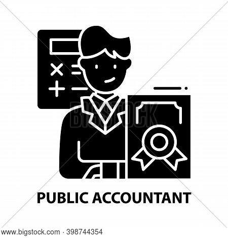 Public Accountant Icon, Black Vector Sign With Editable Strokes, Concept Illustration