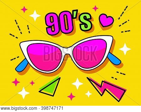 Neon Retro Glasses From The 90's Collection. Women's And Men's Accessories Of The 80's. Optics, Vint
