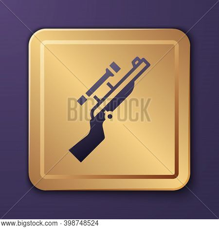 Purple Sniper Rifle With Scope Icon Isolated On Purple Background. Gold Square Button. Vector