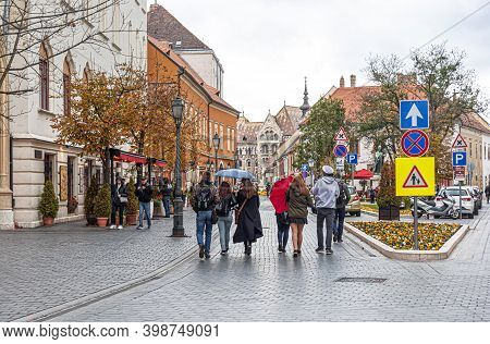 Budapest, Hungary - October 28, 2017: Old Town On Buda Hill In The City Of Budapest.