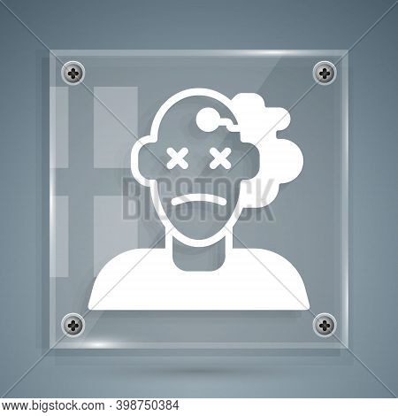 White Murder Icon Isolated On Grey Background. Body, Bleeding, Corpse, Bleeding Icon. Concept Of Cri