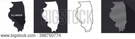 State Of Illinois. Map Of Illinois. United States Of America Illinois. State Maps. Vector Illustrati
