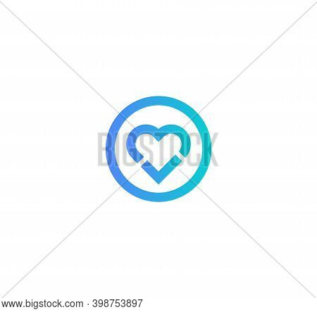 Healthy Heart Icon. Round Frame With Heart And Checkmark, Flat Cartoon Style Vector Logo Concept. Mo