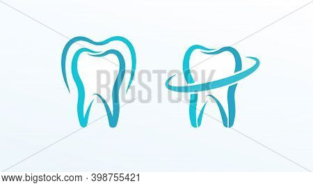 Dentistry Flat Cartoon Style Vector Logo Concept. Protected Tooth, Isolated Icons On White Backgroun