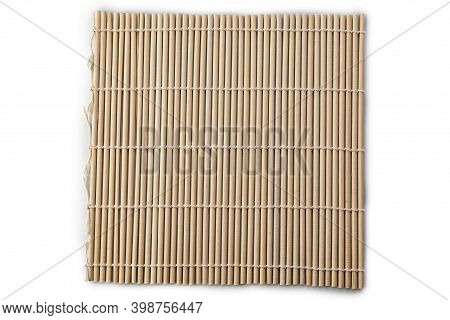 Bamboo Mat For Making Sushi Rolls Isolated On White Background.