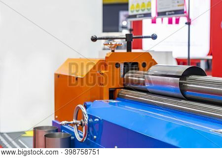 Metal Sheet During Cylinder Bending Manufacturing Process By Roller Automatic Cnc Metal Sheet Roll B