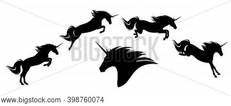 Fairy Tale Unicorn Horse Jumping Forward - Mythical Creature Motion Phases Black Vector Silhouette S