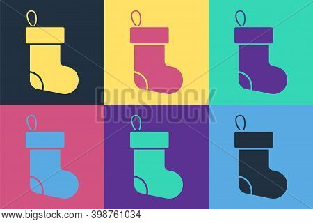 Pop Art Christmas Stocking Icon Isolated On Color Background. Merry Christmas And Happy New Year. Ve