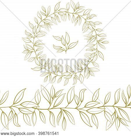 Foliate Seamless Brush, Border With Gold Decorative Leaves For Greeting Cards, Invitations, Posters,