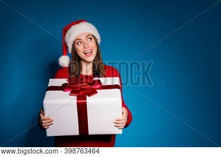 Photo Positive Girl In Santa Claus Cap Look Copyspace Hold Dream Big White Gift Box Enjoy Magic Chri