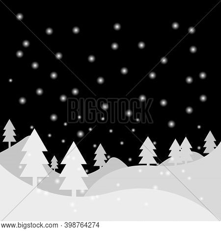 Snowfall At Night Vector Illustration For Greeting Card Or Cover