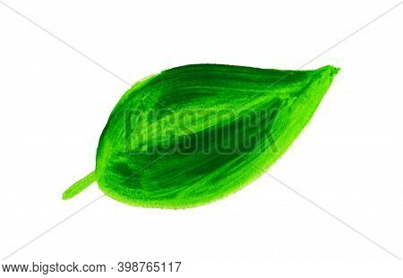 Green Leaf Smears With Acrylic Paint And Textures On A White Background. Eco Element Icon To Indicat