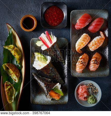 Set Of Japanese Sushi Background Chinese Dumpling Gyoza Jiaozi, Temaki, Nigiri, With Salmon, Eel, Tu