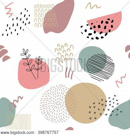 Abstract Background In Trendy Style With Botanical And Geometric Elements, Textures. Natural Earthy