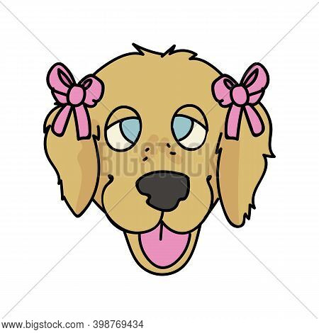 Cute Cartoon Golden Retriever Dog Face With Cute Bow Breed Vector Clipart. Pedigree Kennel Doggie Br