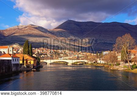 View Of Trebisnjica River And  Trebinje City  On Winter Day. Bosnia And Herzegovina, Republika Srpsk