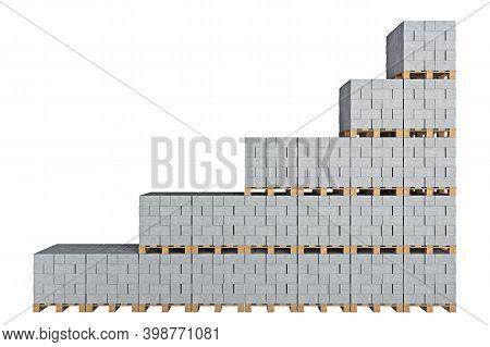 Wall Of Cinder Blocks On Pallets Compiled In Ascending Order. 3d Rendering