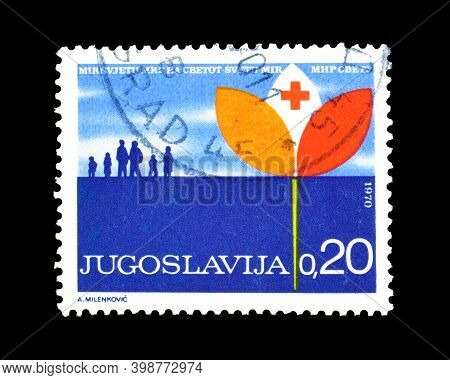 Yugoslavia - Circa 1970 : Cancelled Postage Stamp Printed By Yugoslavia, That Promotes World Peace,