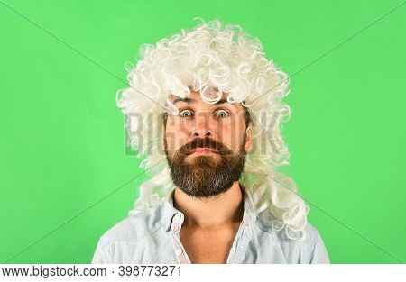 Emotions. Surprised Man In Wig. Surprised Bearded Man. Portrait Of Surprised Man. Isolated. Wig