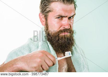 Morning Routine. Dental Care. Toothbrush. Bearded Man With Toothbrush. Brushing Teeth