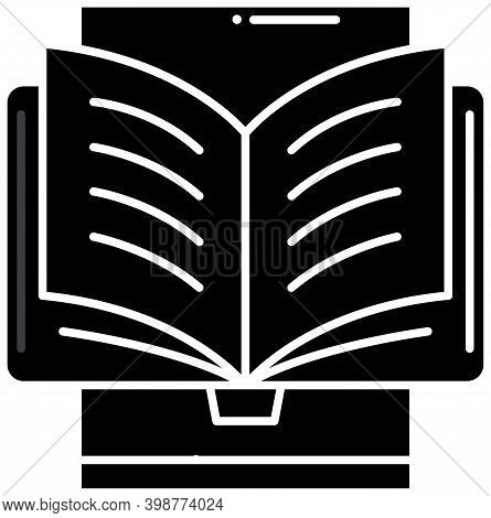 Ebook Reading Icon, Black Vector Sign With Editable Strokes, Concept Illustration