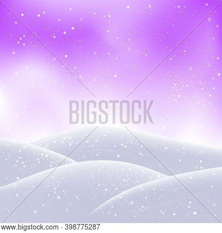 Christmas Snowdrift And Snowfall On Purple Sky