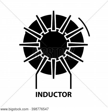 Inductor Icon, Black Vector Sign With Editable Strokes, Concept Illustration