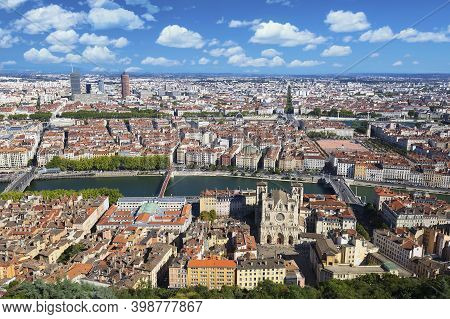 Aerial View Of Lyon From The Top Of Notre Dame De Fourviere, France