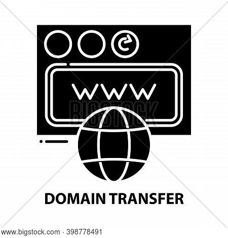 Domain Transfer Icon, Black Vector Sign With Editable Strokes, Concept Illustration