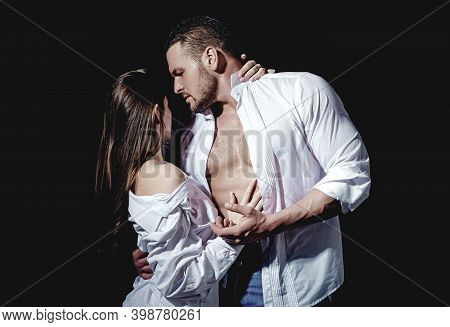 Passionate Couple, Romantic Lovers Concept. Sexy Elegant People In Tender Passion
