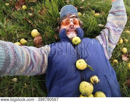 Happy Mature Man, Apple Harvest Abundance Concept