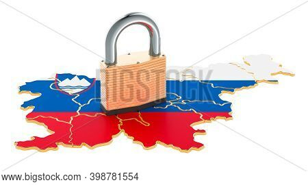 Lockdown In Slovenia. Padlock With Map, Border Protection Concept. 3d Rendering Isolated On White Ba