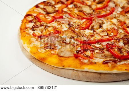 Delicious Pizza With Bacon And Chicken Teriyaki Served On A Wooden Plate, Ingredients Signature Sauc